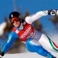 Elena Fanchini sul podio nella discesa della Gut