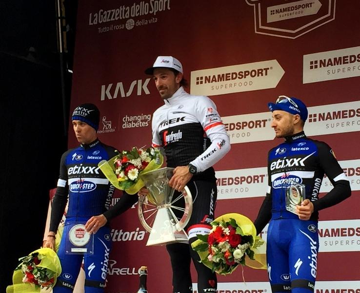 podio strade bianche 2016 con Cancellara, Stybar e Brambilla